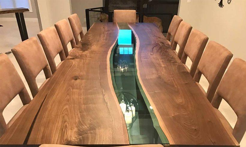 میز چوبی با اپوکسی رزین