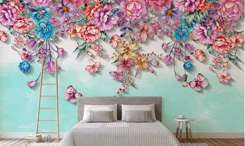 کاغذ دیواری سه بعدی طرح گل اتاق خواب