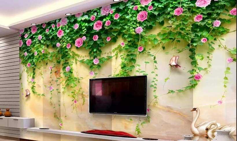 کاغذ دیواری سه بعدی پشت تلویزیون