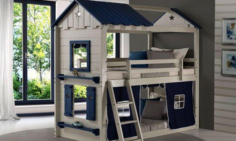 مدل تخت کودک و نوجوان کلبه ای دو طبقه