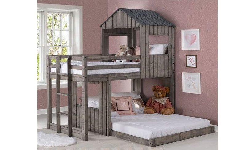 مدل تخت کلبه ای دو طبقه
